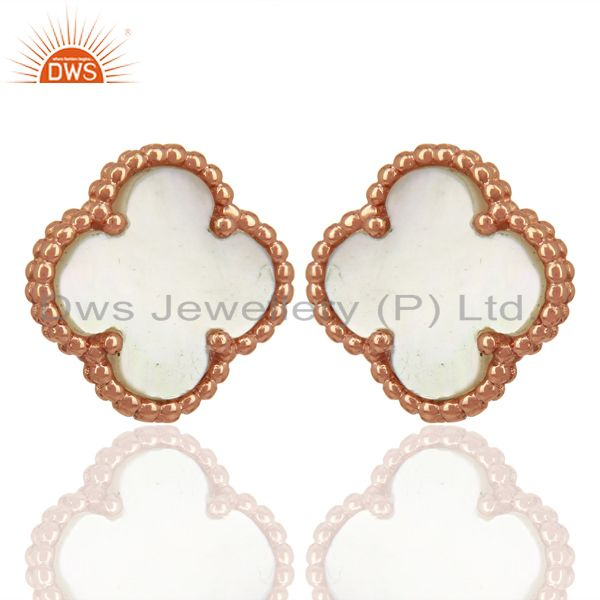 Exporter Mother Of Pearl Clover The Magic Motif Sterling Silver Rose Gold Plated Earrings