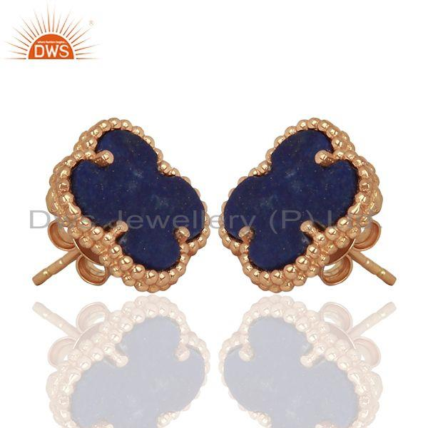 Exporter Lapis Lazuli Clover The Magic Motif Sterling Silver Rose Gold Plated Earrings