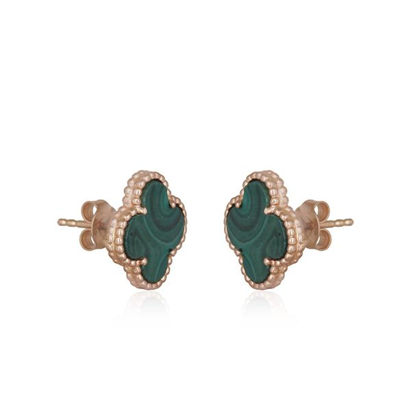 Exporter Rose Gold Plated 925 Silver Malachite Gemstone Clover Stud Earrings