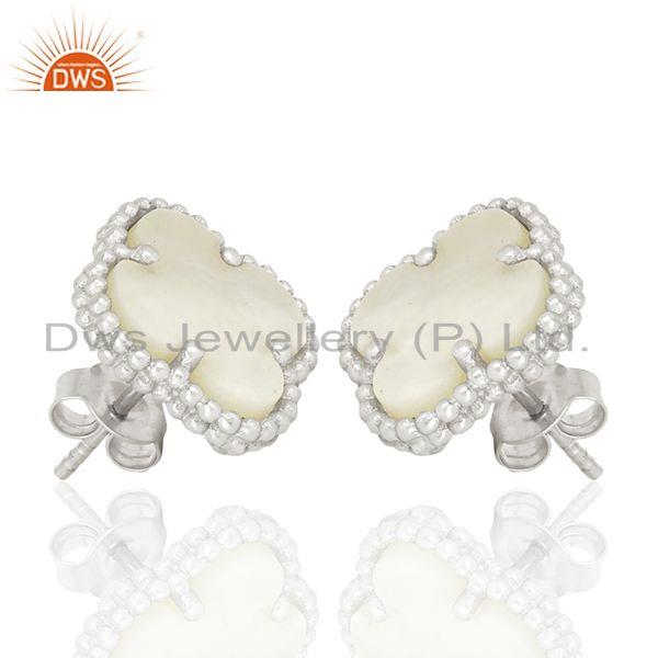 Exporter Mother Of Pearl Clover Magic Motif Sterling Silve White Rhodium Plated Earring