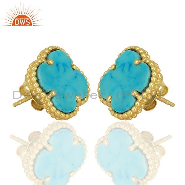 Exporter Turquois Clover The Magic Motif Sterling Silver 14K Gold Plated Earrings