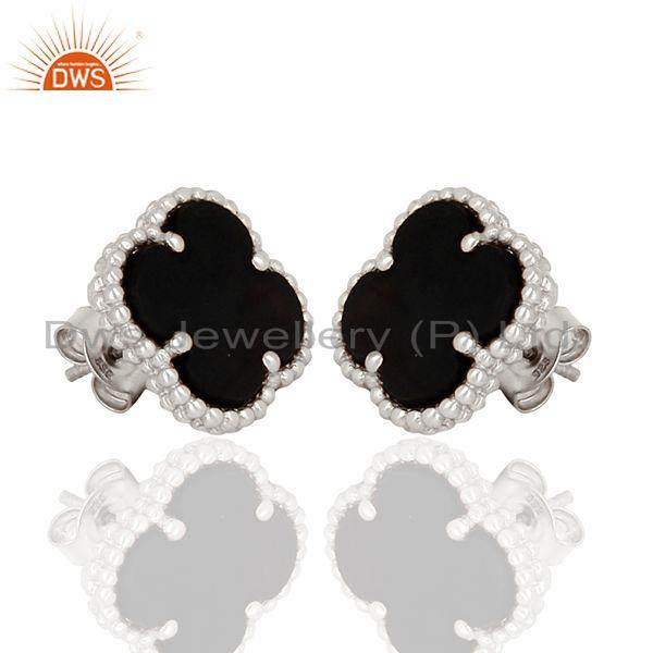 Exporter Black Onyx Clover The Magic Motif Sterling Silver White Rhodium Plated Earrings
