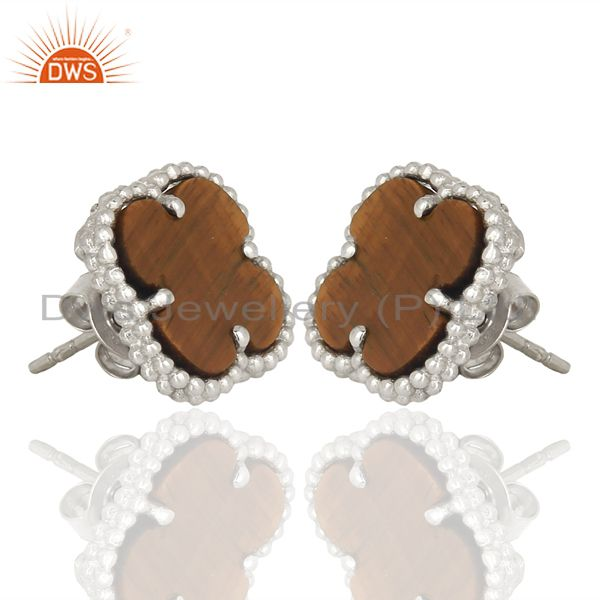 Exporter Tiger Eye Clover The Magic Motif Sterling Silver White Rhodium Plated Earrings