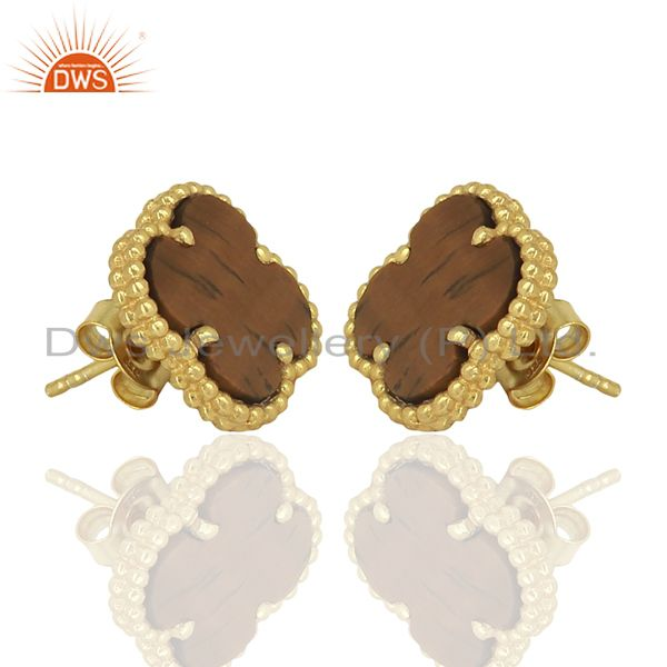 Exporter Tiger Eye Clover The Magic Motif Sterling Silver 14K Gold Plated Earrings