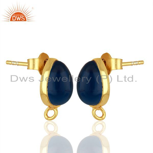 Exporter Blue Corundum Studs 18K Gold Plated 925 Sterling Silver Jewelry Finding  Jewelry