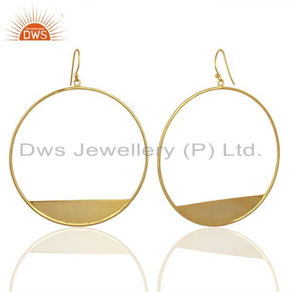 Exporter Designer Gold Plated 925 Silver Womens Plain Silver Fashion Earrings