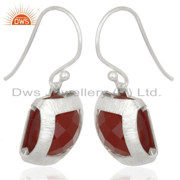 Exporter Handmade 925 Sterling Silver Natural red Onyx Gemstone Earrings