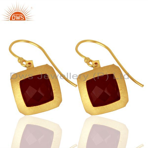Exporter Natural Red Onyx Gemstone Designer Gold Plated Silver Earring