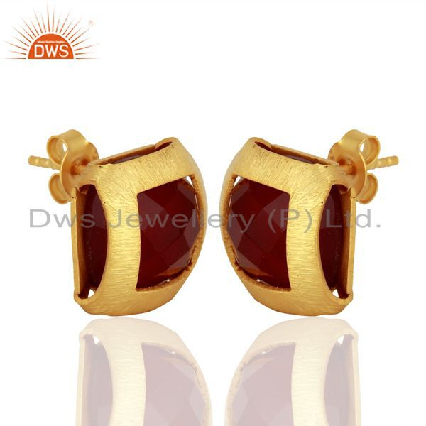 Exporter Gold Plated Sterling Silver Natural Red Onyx Gemstone Stud Earrings