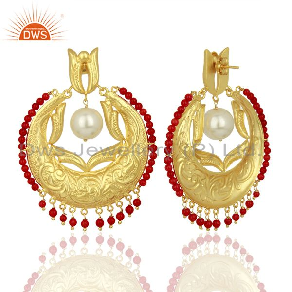 Exporter CZ Coral Gemstone Gold Plated Silver Chand Bali Traditional Earrings