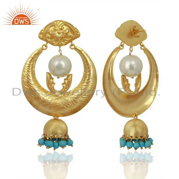 Exporter Gold Plated Silver Turquoise Gemstone Chand Bali Earrings Supplier