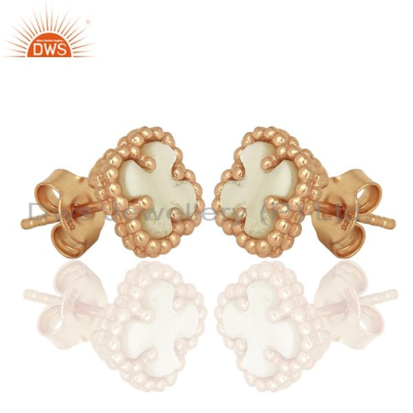 Exporter Mother Of Pearl The Magic Mini Motif Sterling Silver Rose Gold Plated Studs
