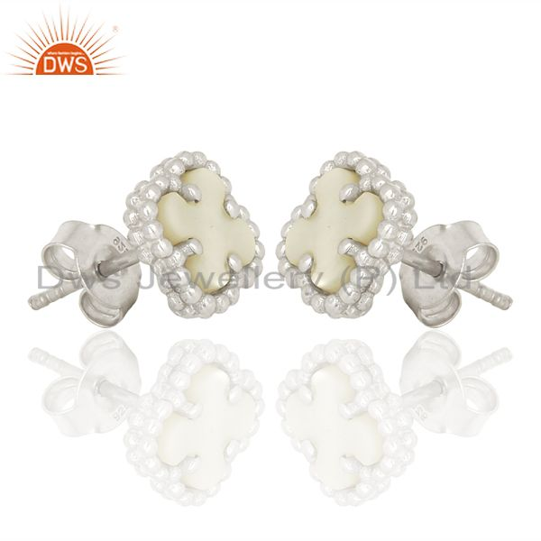 Exporter Mother Of Pearl Clover The Magic Mini Motif 925 Sterling Silver Studs Earrings