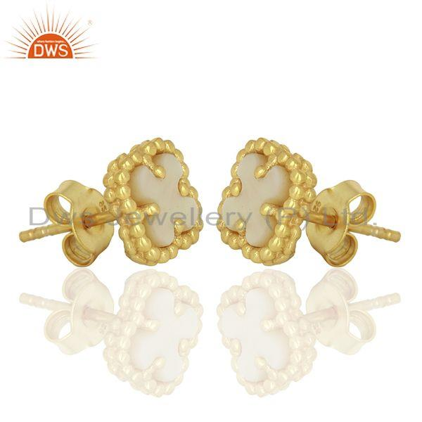 Exporter Mother Of Pearl Clover Mini The Magic Motif Sterling Silver Gold Plated Earrings