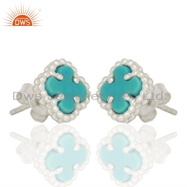 Exporter Turquoise Clover The Magic Mini Motif 925 Sterling Silver Studs Earrings Jewelry