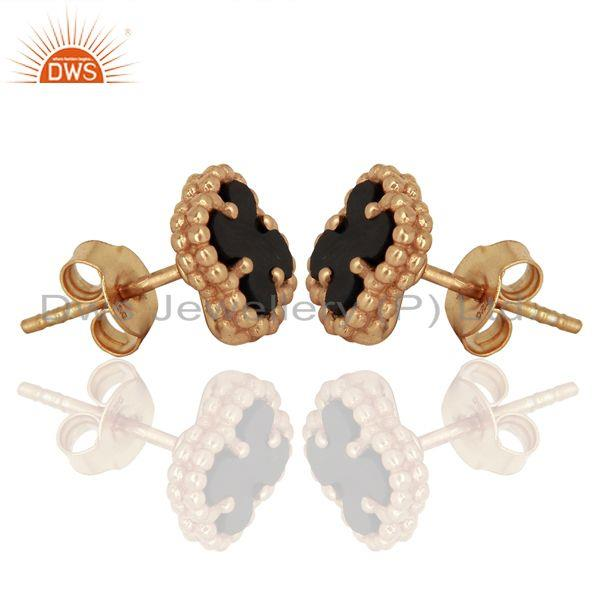 Exporter Black Onyx Clover The Magic Mini Motif Sterling Silver Rose Gold Plated Studs