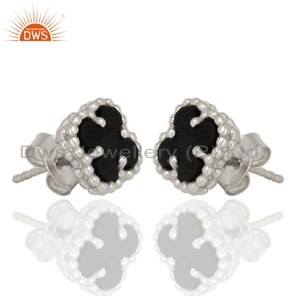 Exporter Black Onyx The Magic Motif 925 Sterling Silver Mini Clover Studs Jewelry