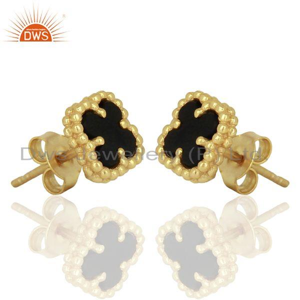 Exporter Black Onyx Clover The Magic Mini Motif 925 Sterling Silver 14k Gold Plated Studs
