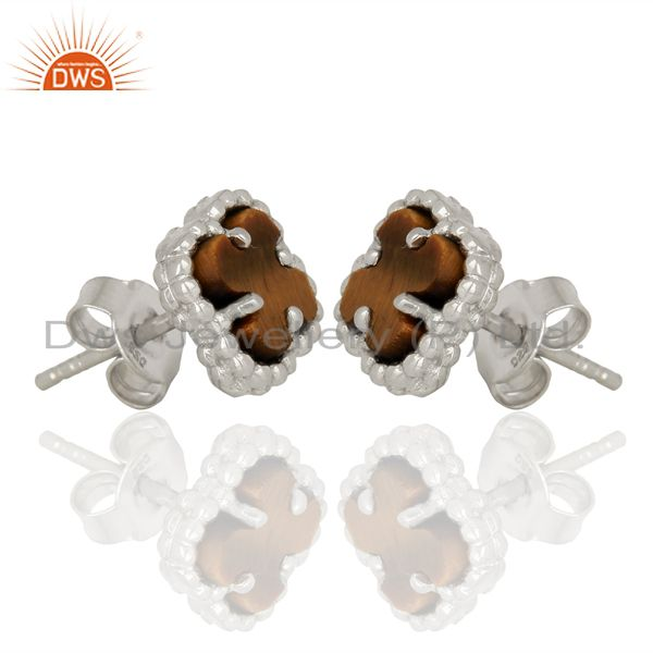 Exporter Tiger Eye Clover Mini The Magic Motif Sterling Silver Stud Earrings Jewelry