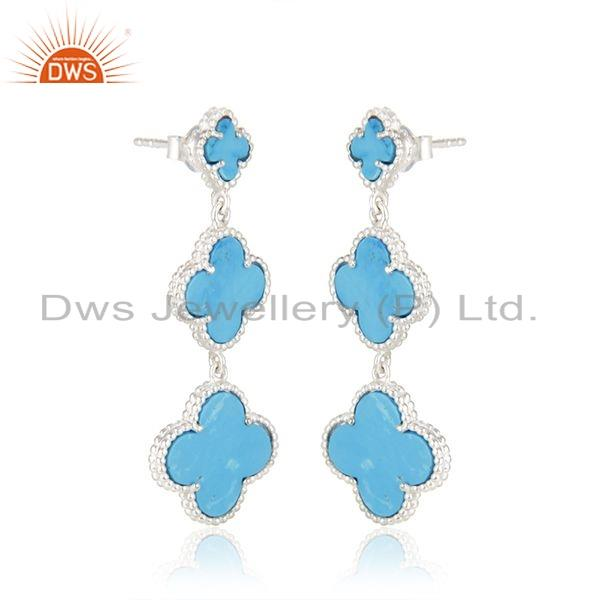 Exporter Natural Turquoise Gemstone Sterling Fine Silver Clover Earring Jewelry