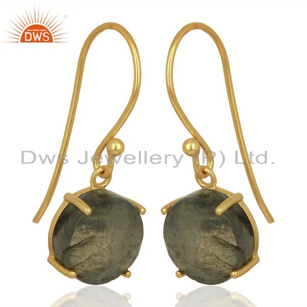 Exporter Labradorite Flat Shape Pefect Drop 14K Gold Plated Wholesale 92.5 Silver Earring