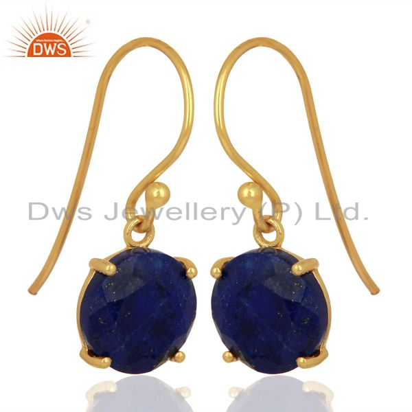 Exporter Lapis Flat Shape Pefect Drop 14K Gold Plated Wholesale 92.5 Silver Earring