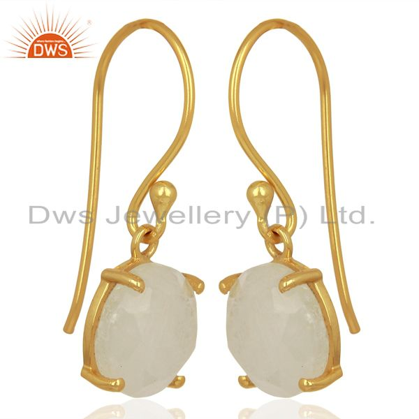Exporter Moonstone Flat Shape Pefect Drop 14K Gold Plated Wholesale Silver Earring