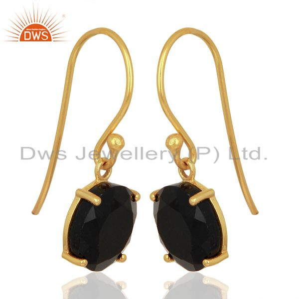 Exporter Black Onyx Flat Shape Pefect Drop 14K Gold Plated Wholesale 92.5 Silver Earring