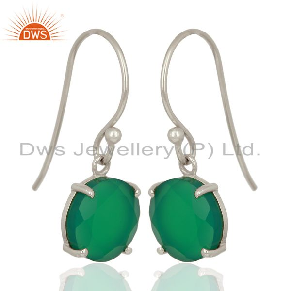 Exporter Green Onyx Flat Shape Pefect Drop High Finish Wholesale Sterling Silver Earrings