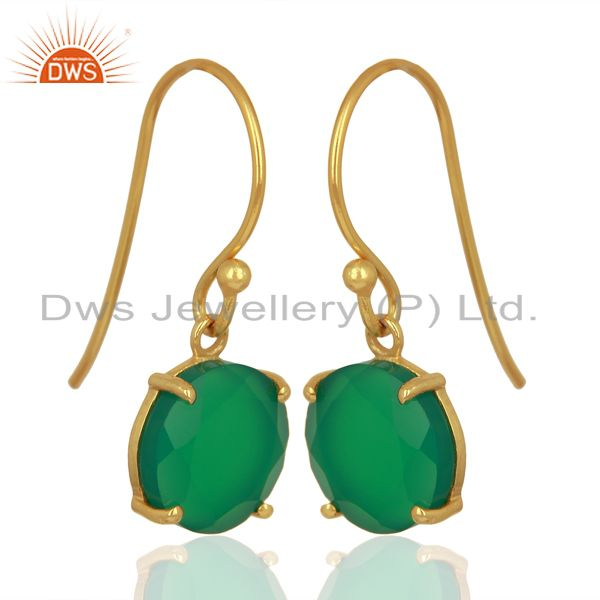 Exporter Green Onyx Flat Shape Pefect Drop 14K Gold Plated Wholesale 92.5 Silver Earring