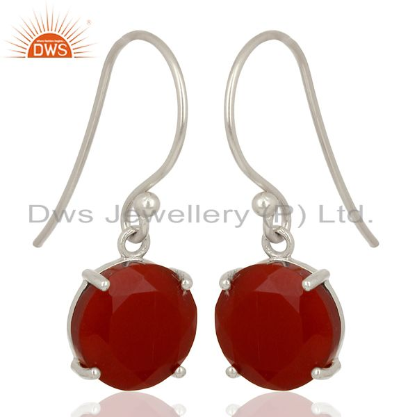 Exporter Red Onyx Flat Shape Pefect Drop High Finish Wholesale Sterling Silver Earrings