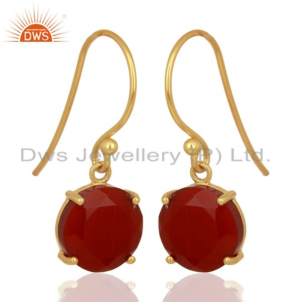 Exporter Red Onyx Flat Shape Pefect Drop 14K Gold Plated Wholesale 92.5 Silver Earring