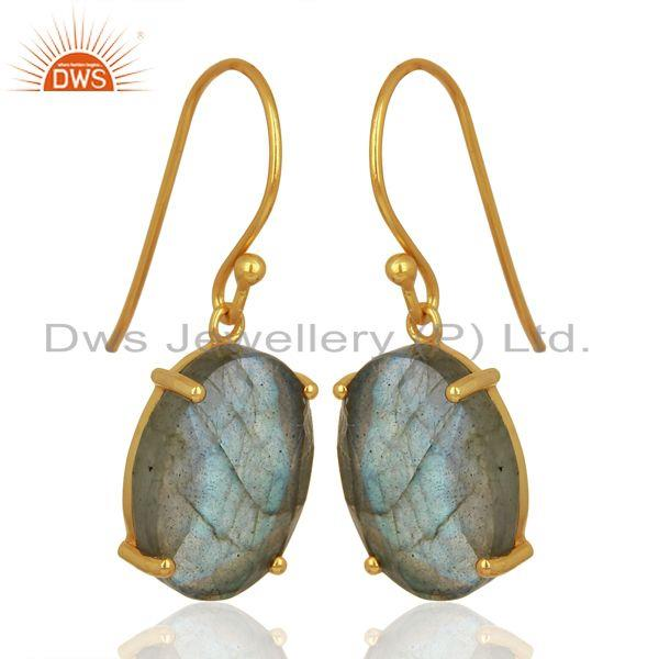 Exporter Labradorite Flat Shape Pefect Oval Drop 14K Gold Plated Wholesale Silver Earring