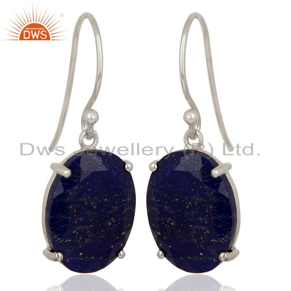 Exporter Lapis Flat Shape Pefect Oval Drop Wholesale 92.5 Sterling Silver Earring