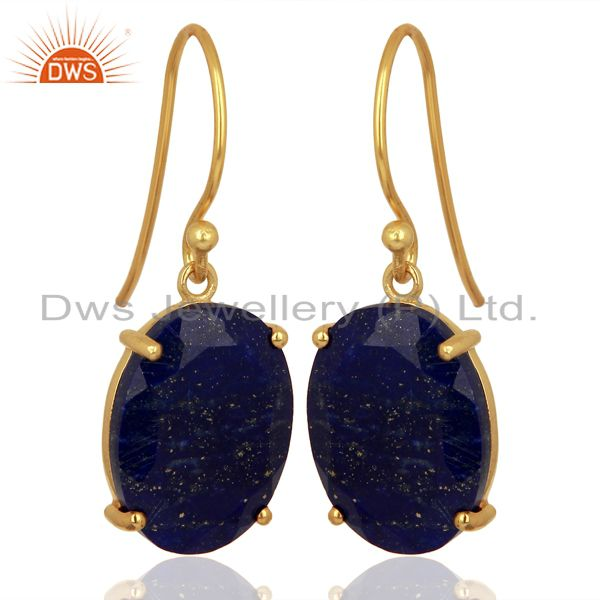 Exporter Lapis Flat Shape Pefect Oval Drop 14K Gold Plated Wholesale Silver Earring