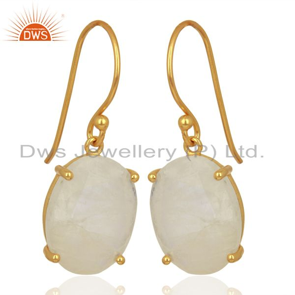 Exporter Moonstone Flat Shape Pefect Oval Drop 14K Gold Plated Wholesale Silver Earring