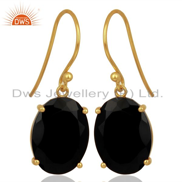 Exporter Black Onyx Flat Shape Pefect Oval Drop 14K Gold Plated Wholesale Silver Earring