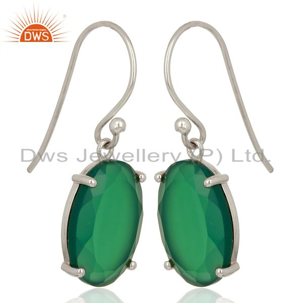 Exporter Green Onyx Flat Shape Pefect Oval Drop Wholesale 92.5 Sterling Silver Earring