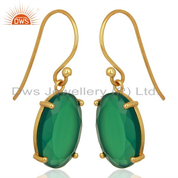 Exporter Green Onyx Flat Shape Pefect Oval Drop 14K Gold Plated Wholesale Silver Earring