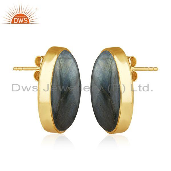 Exporter Natural Labradorite Gemstone 14k Gold Plated 925 Silver Stud Earring For Womens