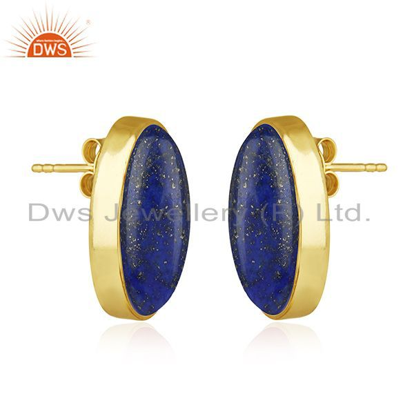 Exporter Natural Lapis Lazuli Gemstone Gold Plated 925 Silver Stud Earring Wholesale
