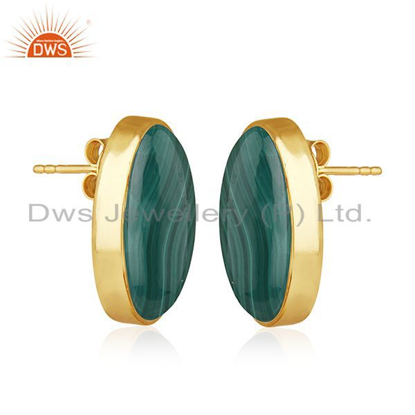 Exporter Natural Malachite Gemstone Gold Plated 925 Silver Stud Earring for Girls Jewelry