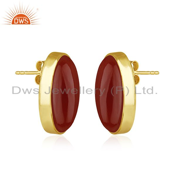 Exporter Red Onyx Gemstone 925 Silver Gold Plated Stud Earring Manufacturer