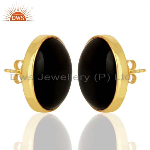 Exporter Black Onyx Round  Bezel Set 925 Sterling Silver 14K Gold Plated Stud Earring