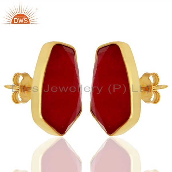 Exporter Natural Red Aventurine Unshape Bezel Set Sterling Silver 14K Gold Plated Stud