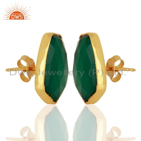 Exporter Green Onyx Unshape Bezel Set 925 Sterling Silver 14K Gold Plated Stud Earrings