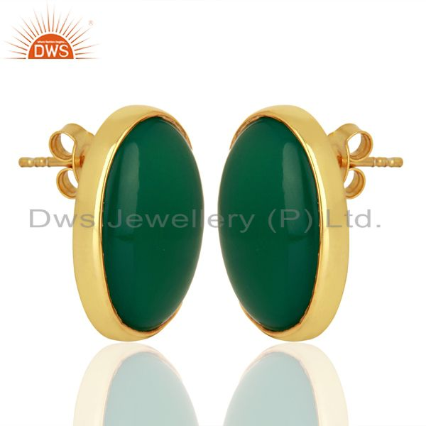 Exporter Green Onyx Oval  Bezel Set Sterling Silver Gemstone Jewellery Stud Earrings