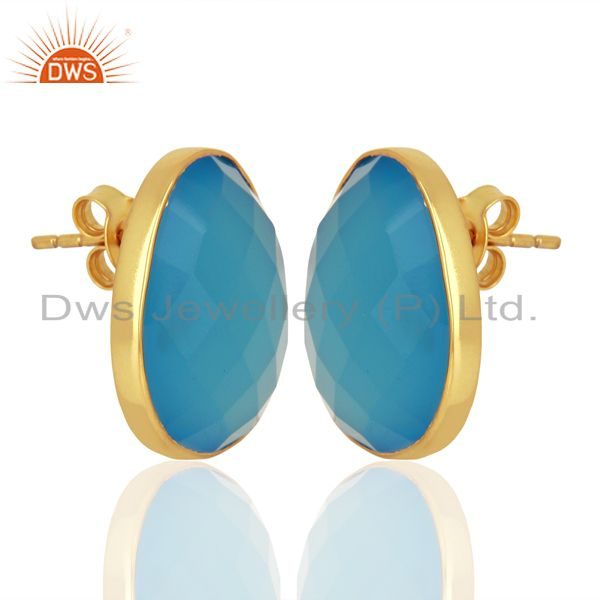 Exporter Blue Chalcedony Gemstone Faceted Egg Shape Bezel Set 925 Sterling Silver Studs