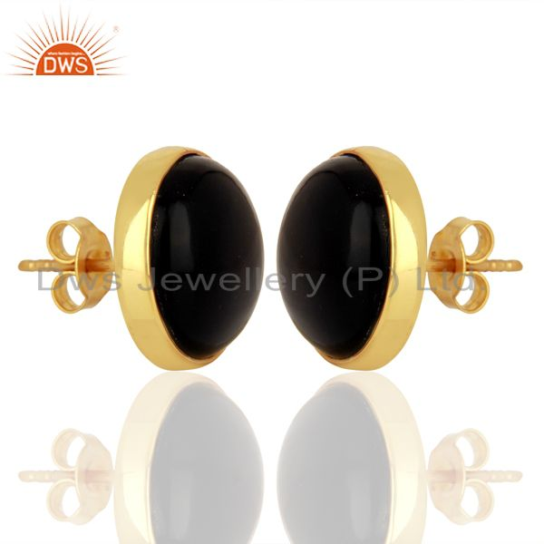 Exporter Sun Stone Blue Round  Bezel Set Sterling Silver 18K Gold Plated Stud Earrings