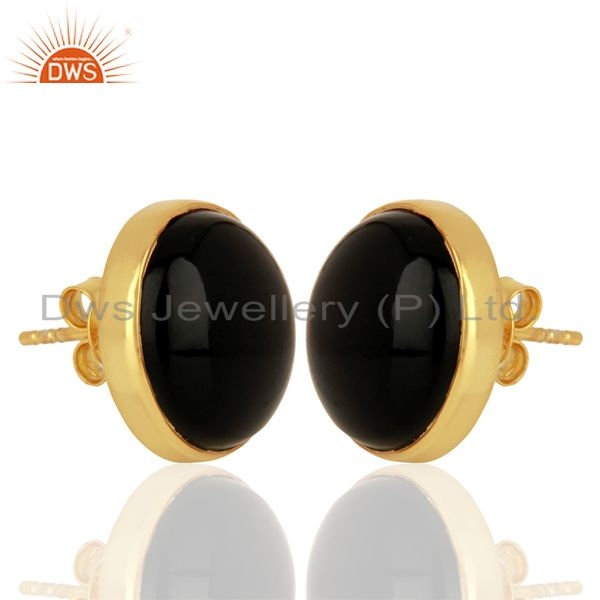 Exporter Black Onyx Round  Bezel Set 925 Sterling Silver 18K Gold Plated Stud Earrings